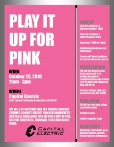 Play it Up for Pink: Breast Cancer Awareness Event @ Capital Electric | Kansas City | Kansas | United States